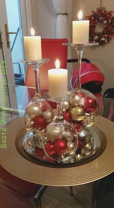 Dollar Store Christmas Table Centerpieces - Wine Glass Candle Holders - Recycled Christmas Decorations - Dollar Store Christmas Table Centerpieces - Wine Glass Candle Holders Wine glasses as candle holders Dollar Tree Christmas, Christmas Fun, Christmas Wreaths, Christmas Ornaments, Elegant Christmas, Christmas Balls, Christmas Glasses, Beautiful Christmas, Christmas Tree Ideas