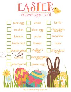 Once the Easter baskets have been torn apart and the egg hunt is over, you can entertain the kids with this free Easter Scavenger Hunt printable. Easter Hunt, Easter Party, Easter Dinner, Easter Table, Easter Egg Crafts, Easter Eggs, Easter Stuff, Bunny Crafts, Easter Decor