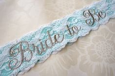 Breakfast at Tiffany's Lace Bridal Sash - Tiffany Blue, White and Silver Bachelorette Sash - Customizable Future Mrs. Sash