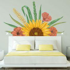 Home Decor Bedroom, Bedroom Wall, Sunflower Wall Decor, Wall Painting Decor, Girl Bedroom Designs, Home Room Design, New Room, Girl Room, Room Inspiration