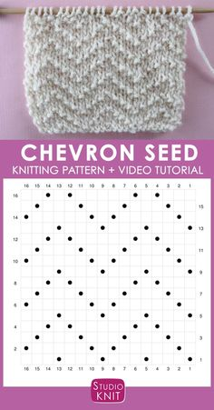 How to Knit the Chevron Seed Stitch Pattern with Studio Knit - Strickmuster - How to Knit the Chevron Seed Stitch Pattern with Studio Knit Chevron Seed Knit Stitch Pattern Chart with Video Tutorial by Studio Knit Knitting Stiches, Knitting Charts, Easy Knitting, Loom Knitting, Knitting Patterns Free, Crochet Stitches, Stitch Patterns, Knitting Machine, Crochet Granny