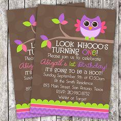 Owl Birthday Invitation Girl First Birthday by LibbyKateSmiles