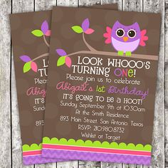 SALE  Girl Owl Birthday Printable by PerpetualLoveDesign on Etsy, $5.00