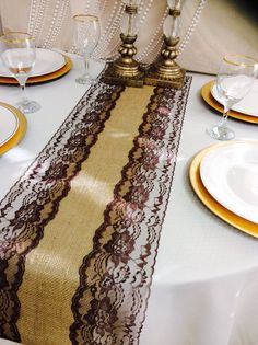8ft Burlap Lace Table Runner with Brown by LovelyLaceDesigns