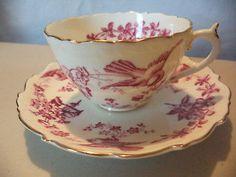 Vintage English Coalport Bone China Birds Flowers Gold Gilt Tea Cup & Saucer C&S