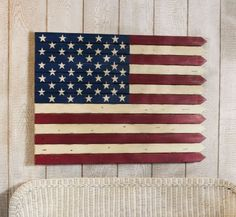 "American Flag Wall Art by Outdoor Decor. $105.00. A special addition to your wall. Red, white, and blue. 40""L x 1.5""W x 27""H. Painted wood. As American as dreams of picket fences, this American Flag Wall art is bold and powerful. In a rustic folk art style, its stars and stripes can stretch across your wall in patriotic glory.. Save 26% Off!"