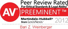 Martindale-Hubbell® PEER REVIEW RATINGS™ reflect a combination of achieving a Very High General Ethical Standards rating and a Legal Ability numerical rating.