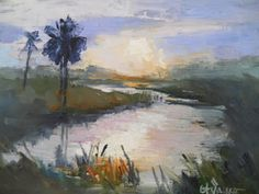 "Tropical Landscape Painting, Daily Painting, Small Oil Painting, ""Sunset in the Wetlands"" 6x8"" Oil by CarolSchiffStudio on Etsy"