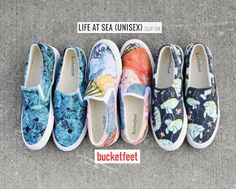 #bucketfeet #oceans theme artist designed canvas shoes