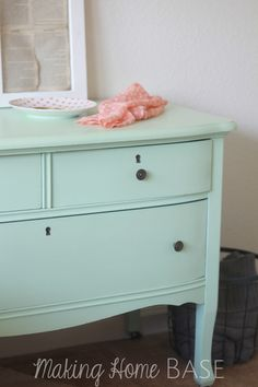 Beautiful Mint Painted Nightstand Color Is Lowe S Olympic Sweet Pea Dresser Green