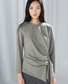 Winter work shirt - 79.90 TOP WITH GATHERED SIDE from Zara