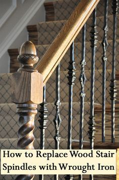Upgrading your basic wood stair spindles, which are also called balusters, will give your home a more custom look. See the steps below for how to replace your wood stair spindles or stair balusters with wrought iron. Wrought, Iron Stair Railing, Remodel, Staircase Design, Home, Wrought Iron Stairs, Wrought Iron Stair Railing, Stair Spindles, Handrail Design