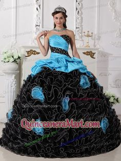 2014 Sweetheart Blue and Black Quinceanera Dresses with Beading and Rolling Flowers