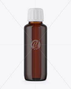 90ml Amber Glass Bottle Mockup