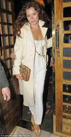 Anna Friel, love the white, cream gold, animal print combination