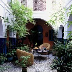 Intimate meal for two. enchanting interior courtyard