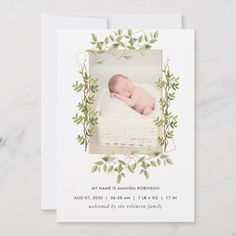 Shop Greenery Geometric Birth Announcement Photo Card created by partypeeps. Birth Announcement Photos, Announcement Cards, Birth Announcements, Robinson Family, Watercolor Leaves, Baby Birth, Happy Birthday Cards, Zazzle Invitations, Newborn Photos