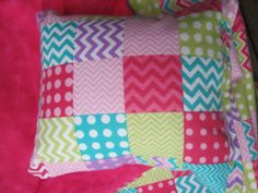 American Girl doll bedding pink chevron blanket and by babychickie, $11.50