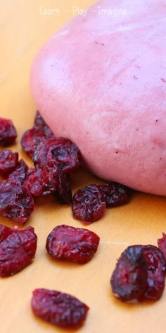 TWO INGREDIENT cranberry dough recipe for Thanksgiving sensory play!