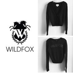 ⚡️FINAL SALE⚡️WILDFOX || Black Knit Cardigan ⚡️Brand New -- actual tag fell off but it is still included! (See last photo)⚡️ A much sought after cozy black knit cardigan from Wildfox [White Label]. One of my favorites. What makes this cardigan so cool is the LOGO that pops out on the back!!  It's subtle, yet it still makes a little statement  This will fit sizes XS + S! Wildfox Sweaters Cardigans