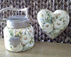 Clear glass candle jar and wooden heart decoupaged with napkin