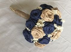 Burlap Bouquet in Navy & Natural, all handmade by me! If interested, order 6 months in advance before wedding date. I have 8 different sizes available, to accommodate budgeted wedding & those looking to splurge! 20-50% deposits available as well, for pay as you go options. We make it easier to have a dream wedding!