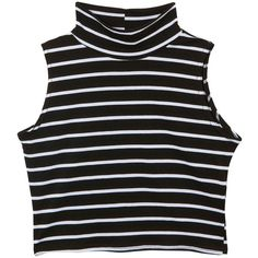 Teens Black and White Stripe High Neck Crop Top (£3) found on Polyvore