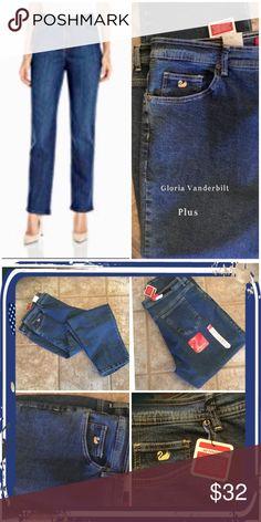 """NWT:🅿️ Gloria Vanderbilt classic fit jeans Gloria Vanderbilt classic fit stretch jeans, approximate measurements: inseam 29""""  SZ: 20W short  color: Antique blue Gloria Vanderbilt Jeans Straight Leg"""