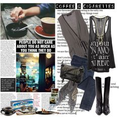 coffee and cigarettes:), created by #isidoraaa-94 on #polyvore. #fashion #style #Sacra Jil Sander