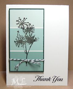handmade thank yu card: Thanks Bunches ... paint chip panel in aquas ... black silhouette flowers embossed on top ... luv the clean lines and use of black mat ...