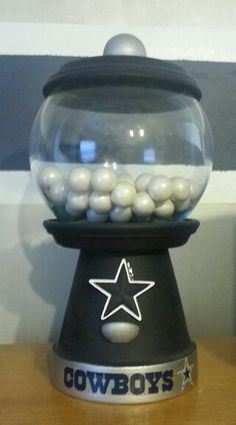 Easy to make Dallas Cowboys gumball 'machine' for The Boy's room.  The blue was a bit dark.  I'll have to make another one a little lighter next time.
