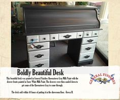 This scroll top desk was refinished with General Finishes Snow White and Queenstown Gray Milk Paint. Great color combo! We'd love to see your projects made with General Finishes products! Tag us with #GeneralFinishes or share with us through our facebook page, https://www.facebook.com/generalfinishesusa. #generalfinishes #milkpaint