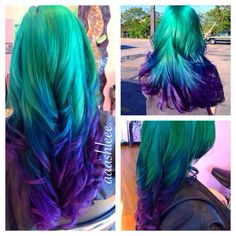 Hair teal blue purple ombre