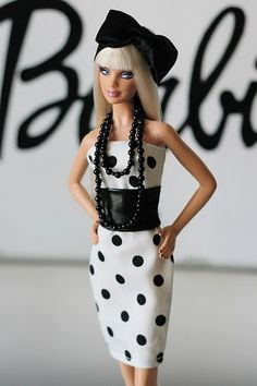 Re-styled Barbie in black and white
