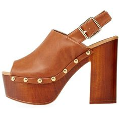 Charlotte Russe Rust Qupid Open Toe Slingback Clog Heels by Qupid at... ($41) ❤ liked on Polyvore featuring shoes, clogs, rust, open toe slingback, slingback clogs, peeptoe shoes, chunky heel shoes and open toe clogs