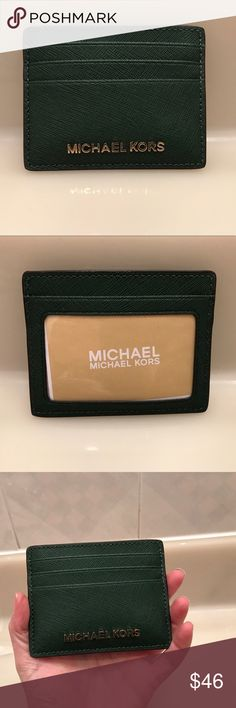 Michael Kors Travel Card Wallet Moss Green Authentic NWT beautiful moss colored card wallet! Message with any questions. Comes from a smoke free home with fast shipping! Michael Kors Accessories Key & Card Holders