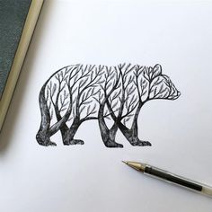 New Pen & Ink Depictions of Trees Sprouting into Animals by Alfred Basha - Italian illustrator Alfred Basha (previously) continues his ongoing project of fusing animal forms - Penguin Sketch, Penguin Art, Bear Sketch, Bird Drawings, Animal Drawings, Drawing Sketches, Pencil Drawings, Drawings Of Trees, Tattoo Sketches