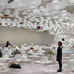 Exhibition design by nendo for 'Akio Hirata's Exhibition of Hats' in Tokyo, Japan