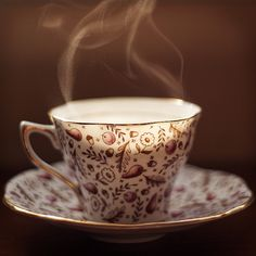 Fresh cup / by phase VIII, via Flickr / Rose Scented tea from Harney / Rosina Bone China