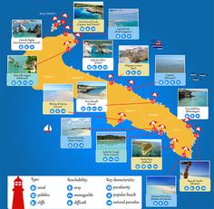 The best beaches in Puglia in a useful and easy-to-share infographic: the top beaches labelled by type, reachability and key characteristics.