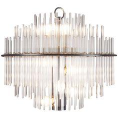 1stdibs.com | Gaetano Sciolari 'Glass Rod' chandelier with chrome frame