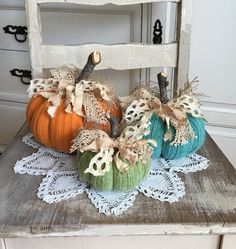 Sweater Pumpkins Set of 3 fabric pumpkins by TatteredTreasures1