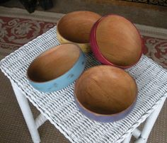 Painted and Distressed Wood Bowls Cottage Chic by AtticJoys1, $25.00