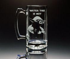 Star Wars  Yoda  Etched Large 26.5 oz Glass Mug  by NexusGlass, $27.75
