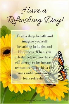 Try this simple exercise at any time throughout the day, to refresh your energy and feel uplifted. As we go through each day, we tend to accumulate energies, some of which may be unwanted from other people, places, or events. It's very helpful to take a few moments to clear any energies that may not even belong to you. If you have a couple of small quartz crystals, you can hold one in each hand when you do this in order to amplify the experience. <3 Morning Greetings Quotes, Good Morning Messages, Morning Prayers, Good Morning Quotes, Amazing Inspirational Quotes, Uplifting Quotes, Meaningful Quotes, Positive Vibes Only, Positive Thoughts