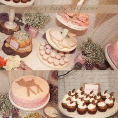 rustic baby shower deer theme country pink little deer woodland crafty DIY baby girl cake pumpkin bread cupcakes