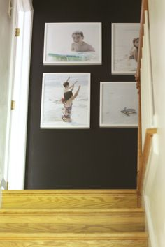 One Room Challenge Week 2: painted black hallway and painted stair rails