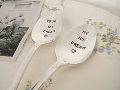 Hand stamped ice cream spoons