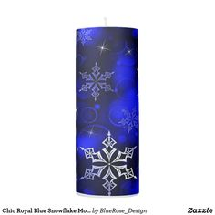 Chic Royal Blue Snowflake Motif Pillar Candle Flameless Candles, Pillar Candles, Custom Candles, Candle Set, Christmas Items, Christmas Card Holders, Hand Sanitizer, Keep It Cleaner, Holiday Cards