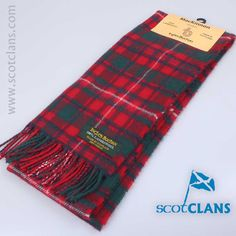 100% lambswool scarf in MacKinnon red modern tartan